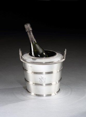 A GEORGE III SILVER WINE COOLER BY WILLIAM BENNETT