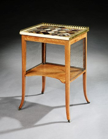 A GEORGE III TULIPWOOD SIDE TABLE WITH A BRASS MOUNTED BLUE JOHN TOP