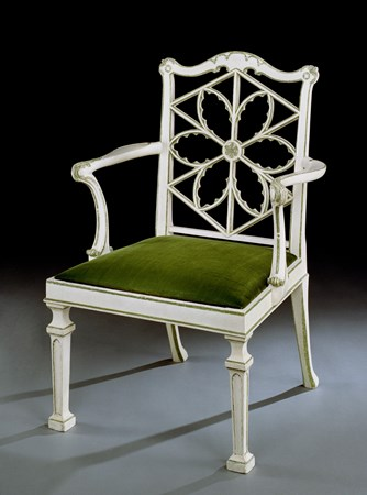A GEORGE III WHITE AND GREEN PAINTED LlME WOOD ARMCHAIR ATTRIBUTED TO THOMAS CHIPPENDALE
