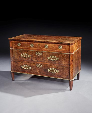 A GEORGE III YEW WOOD COMMODE ATTRIBUTED TO MAYHEW & INCE