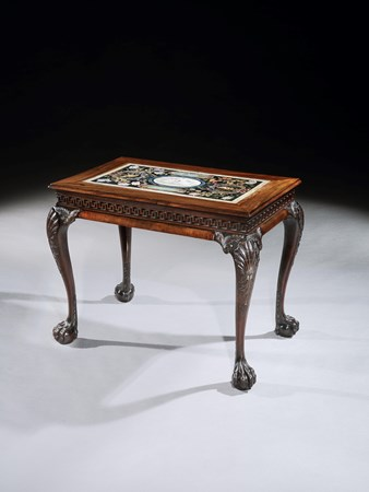 A GEORGE II MAHOGANY CENTRE TABLE WITH A SCAGLIOLA MARBLE INSERT PROBABLY BY PETRUS ANTONIUS DE PAULINUS