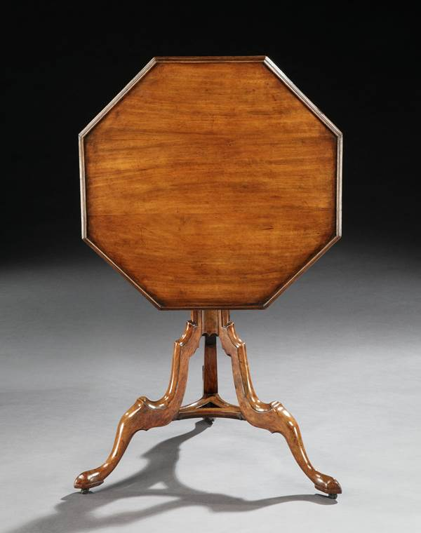 A GEORGE II OCTAGONAL PADOUK TRIPOD TABLE ATTRIBUTED TO WILLIAM MASTERS