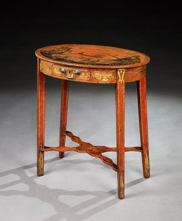 A GEORGE II RED JAPANNED OCCASIONAL TABLE ATTRIBUTED TO GILES GRENDEY