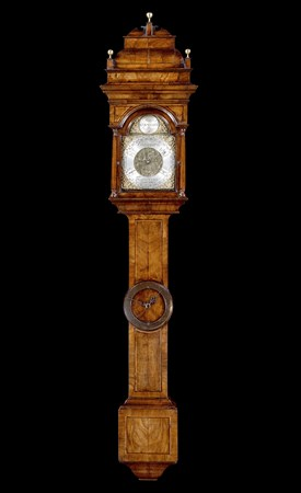 A GEORGE II WALNUT BAROMETER BY JOHN HALLIFAX OF BARNSLEY