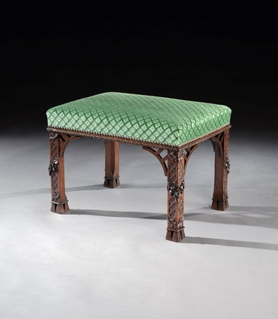 A GEORGE II WALNUT STOOL ATTRIBUTED TO WILLIAM VILE