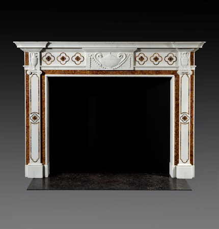 AN IRISH GEORGE III WHITE STATUARY AND BROCATELLO MARBLE CHIMNEYPIECE ATTRIBUTED TO GEORGE AND HILL DARLEY
