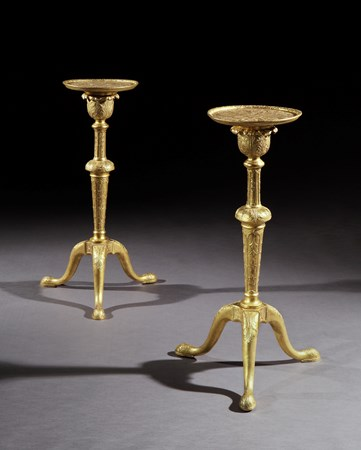 A PAIR OF GEORGE I GILT GESSO TORCHÈRES IN THE MANNER OF JAMES MOORE THE ELDER