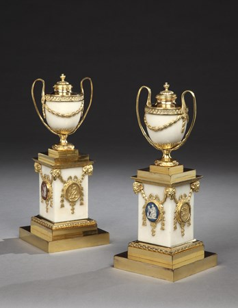 A PAIR OF GEORGE III BISCUIT AND ORMOLU-MOUNTED WHITE MARBLE CASSOLETTE VASES AND COVERS BY MATTHEW BOULTON AND JOHN FOTHERGILL