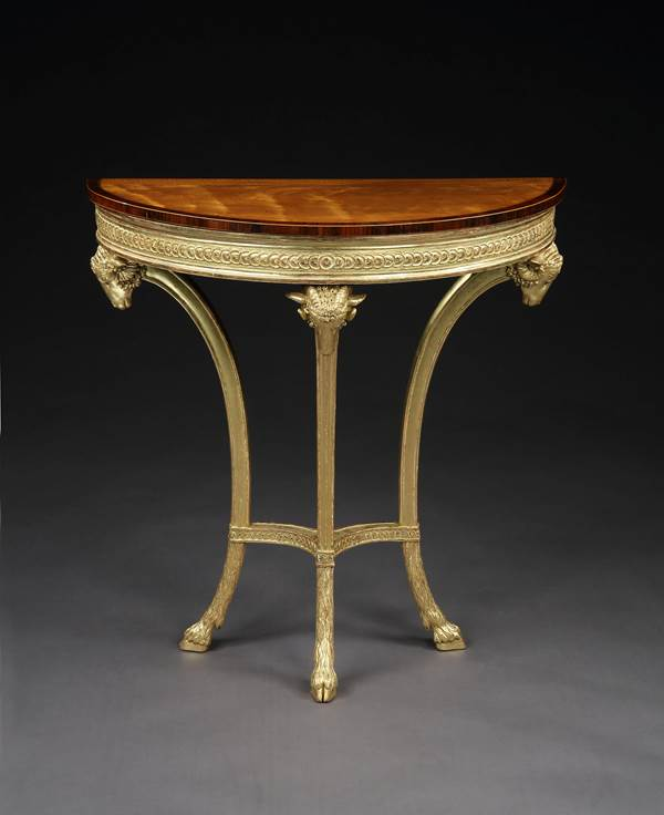 A PAIR OF GEORGE III GILTWOOD AND SATINWOOD PIER TABLES