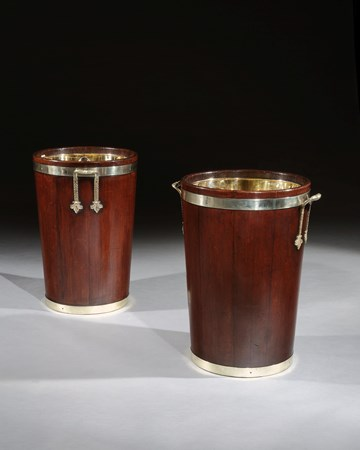 A PAIR OF GEORGE III MAHOGANY LOG BUCKETS