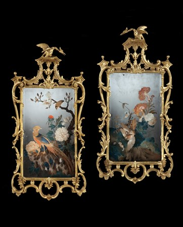 A PAIR OF GEORGE III PERIOD CHINESE EXPORT REVERSE MIRROR PAINTINGS