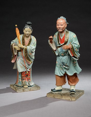 A PAIR OF GEORGE III POLYCHROME PAINTED CHINESE FIGURES