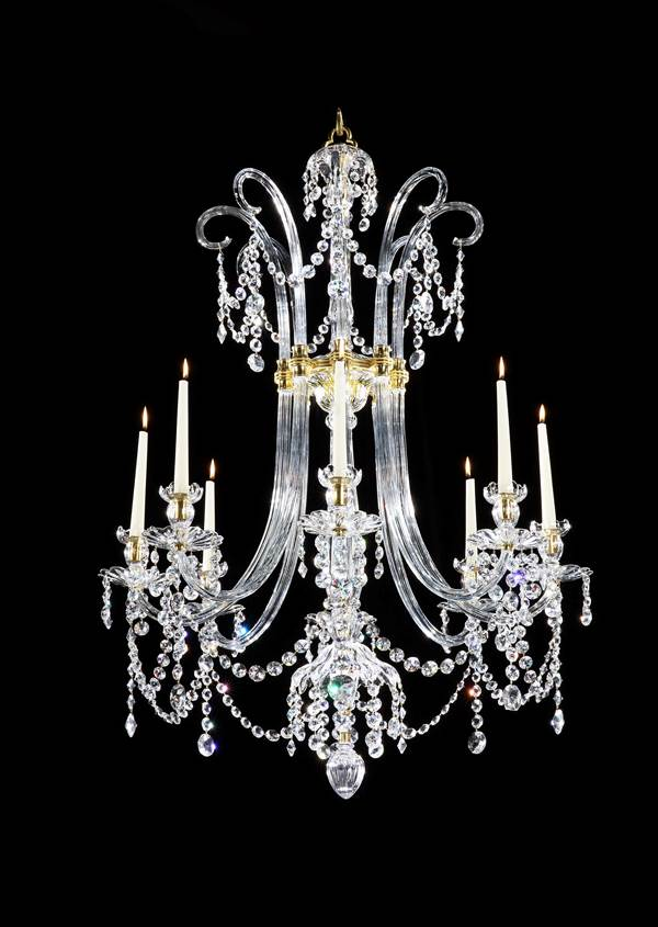 A PAIR OF GEORGE III SIX LIGHT ORMOLU MOUNTED CUT GLASS CHANDELIERS BY MOSES LAFOUNT