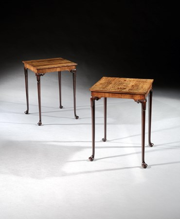 A PAIR OF GEORGE II MAHOGANY AND PADOUK SQUARE CENTRE TABLES ATTRIBUTED TO GILLOWS OF LANCASTER