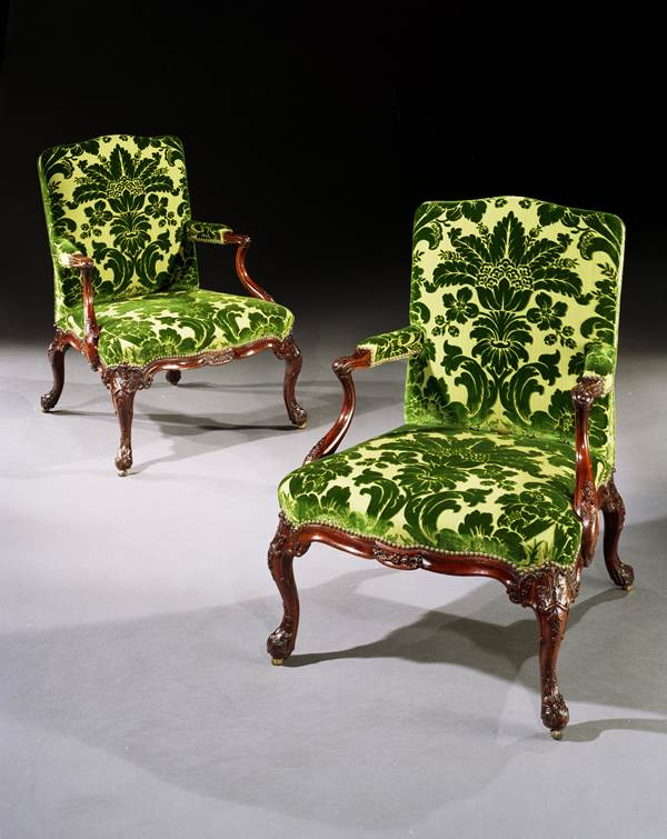 A PAIR OF GEORGE II MAHOGANY ARMCHAIRS