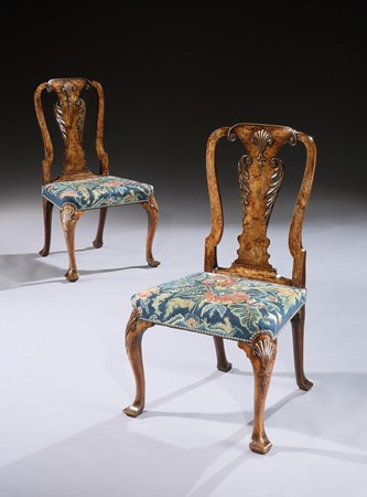 A PAIR OF GEORGE I WALNUT NEEDLEWORK SIDE CHAIRS
