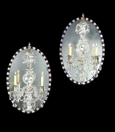 A PAIR OF IRISH GEORGE III MIRROR CHANDELIERS