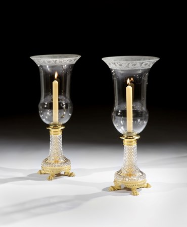A PAIR OF REGENCY ORMOLU MOUNTED CUT GLASS STORM LIGHTS BY JOHN BLADES