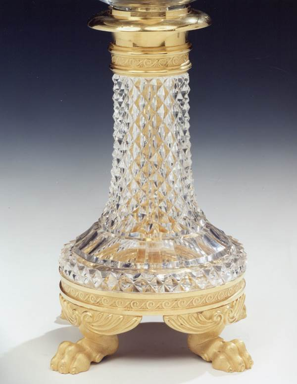 A PAIR OF REGENCY ORMOLU MOUNTED CUT GLASS STORM LIGHTS BY JOHN BLADES