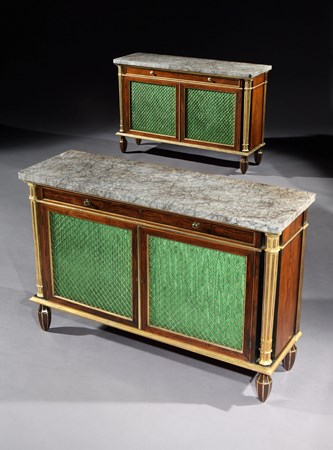 A PAIR OF REGENCY ROSEWOOD SIDE CABINETS ATTRIBUTED TO MARSH & TATHAM