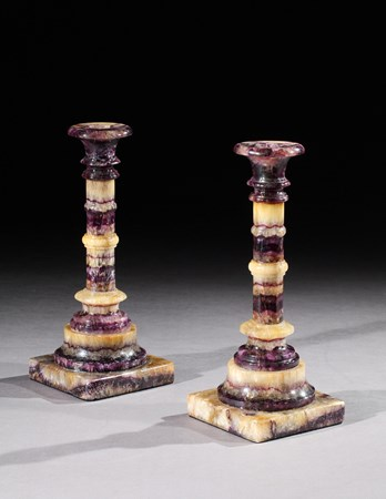 A PAIR OF VICTORIAN BLUE JOHN CANDLESTICKS
