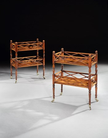 A PAIR OF VICTORIAN WALNUT TWO TIER ÉTAGÈRES