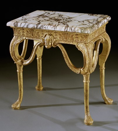 A QUEEN ANNE GESSO SIDE TABLE ATTRIBUTED TO JAMES MOORE THE ELDER