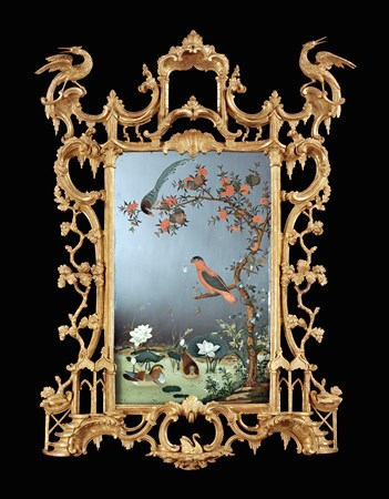 AN OUTSTANDING IRISH GEORGE III PERIOD CHINESE EXPORT MIRROR PAINTING