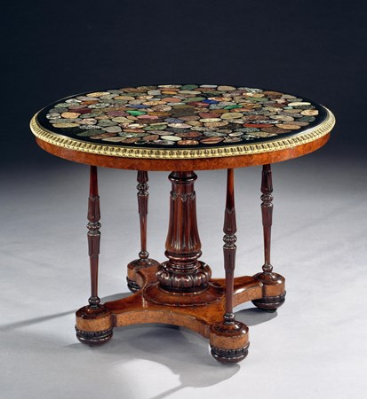 A SPECTACULAR 19TH CENTURY SPECIMEN MARBLE CENTRE TABLE