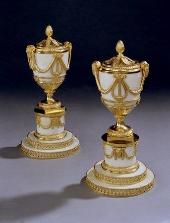 A MAGNIFICENT PAIR OF GEORGE III 'LYRE ESSENCE' VASES BY MATTHEW BOULTON