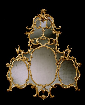 AN IRISH GEORGE III GILTWOOD OVERMANTEL MIRROR