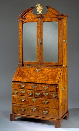 A GEORGE II WALNUT BUREAU BOOKCASE