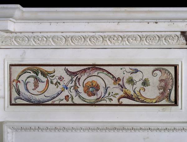 A GEORGE III ITALIAN EXPORT WHITE STATUARY MARBLE CHIMNEYPIECE WITH ROSSO ANTICO RELIEF PLAQUES AND MICRO MOSAIC PANELS ATTRIBUTED TO LORENZO CARDELLI AND CESARE AGUATTI