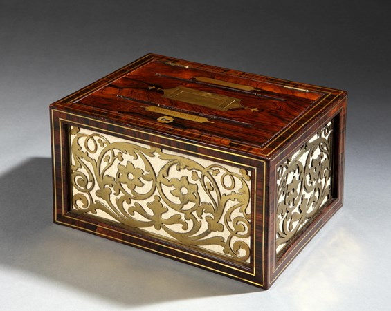 A REGENCY BRASS MOUNTED ROSEWOOD DESK CORRESPONDENCE BOX