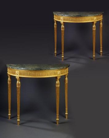 A PAIR OF GEORGE III GILTWOOD SEMI-CIRCULAR SIDE TABLES
