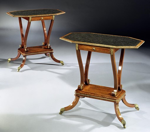 A PAIR OF REGENCY MAHOGANY SIDE TABLES