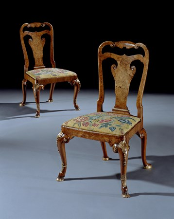 AN IMPORTANT PAIR OF EARLY 18TH CENTURY GEORGE I PERIOD PARCEL GILT AND BURR WALNUT SIDE CHAIRS