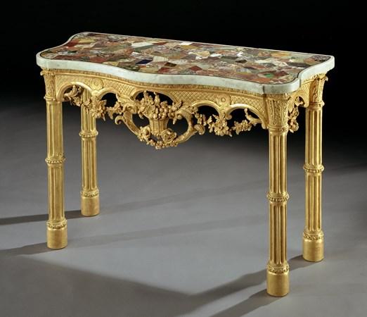 A GEORGE III GILTWOOD SIDE TABLE