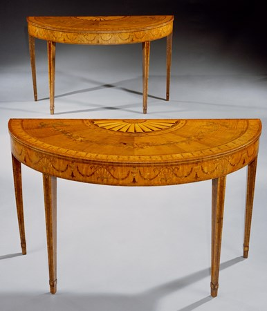 A PAIR OF IRISH GEORGE III SYCAMORE SATINWOOD AND MARQUETRY SIDE TABLES ATTRIBUTED TO WILLIAM MOORE OF DUBLIN