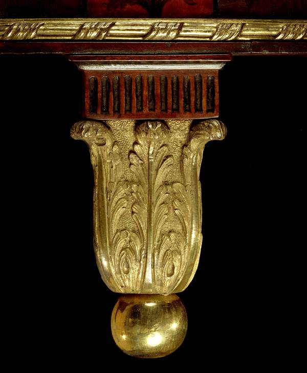 A GEORGE III DEMI-LUNE COMMODE ATTRIBUTED TO MAYHEW AND INCE