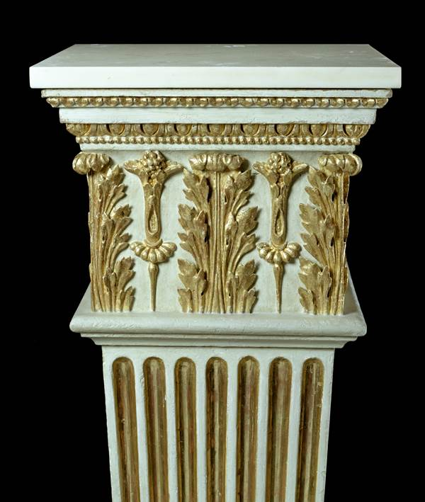 A PAIR OF GEORGE III WHITE-PAINTED AND PARCEL GILT PEDESTALS
