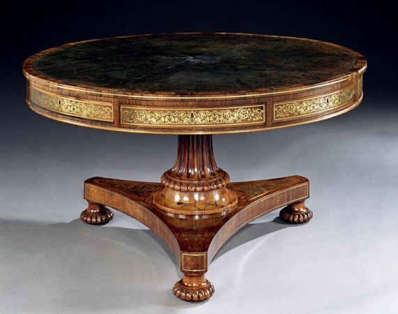 A REGENCY ROSEWOOD DRUM TABLE ATTRIBUTED TO GEORGE AND RICHARD GILLOW OF OXFORD STREET, LONDON