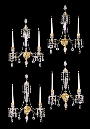 A SET OF FOUR GEORGE III CUT GLASS AND ORMOLU WALL LIGHTS ATTRIBUTED TO WILLIAM PARKER