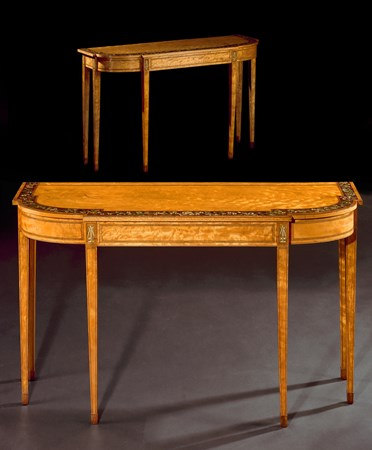 A PAIR OF GEORGE III SATINWOOD SIDE TABLES