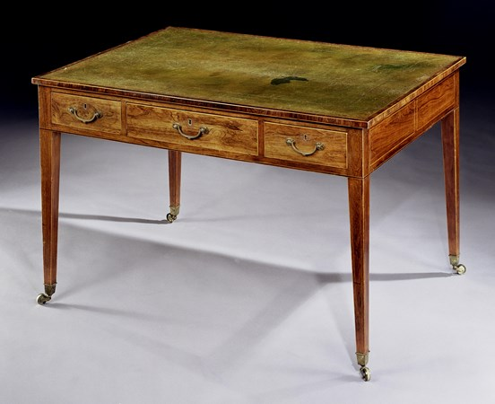 A GEORGE III DOUBLE-SIDED ROSEWOOD WRITING TABLE