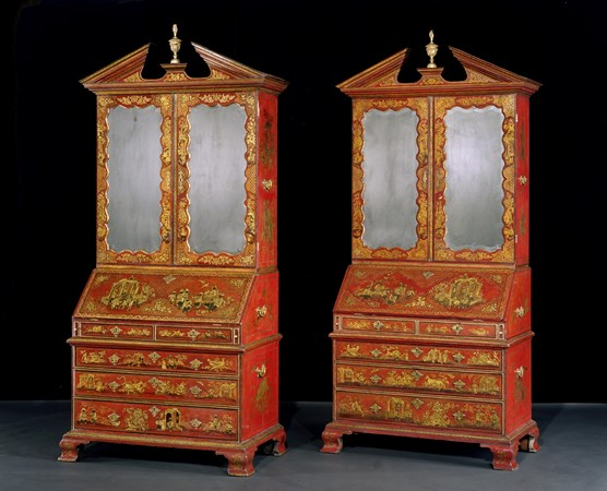 AN EXCEPTIONAL PAIR OF GEORGE I SCARLET JAPANNED BUREAU BOOKCASES BY JOHN BELCHIER