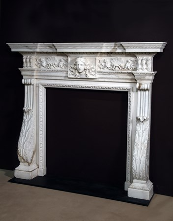 THE KIRKDALE MANOR CHIMNEY PIECE. A GEORGE II STATUARY MARBLE FIREPLACE DESIGNED BY WILLIAM KENT.