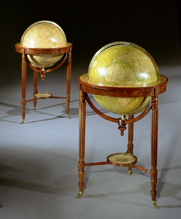 A PAIR OF 21 INCH GEORGE III GLOBES BY JOHN & WILLIAM CARY