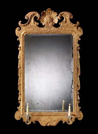A GEORGE II CARVED GESSO MIRROR