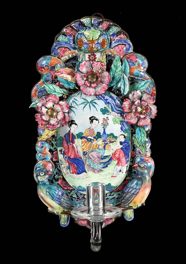 A PAIR OF GEORGE II CHINESE EXPORT QIANLONG PERIOD CANTON ENAMEL WALL SCONCES